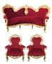 Casa Padrino Barock Sofa Garnitur Bordeaux/Gold + 2 Sessel - Wohnzimmer Barock - Limited Edition