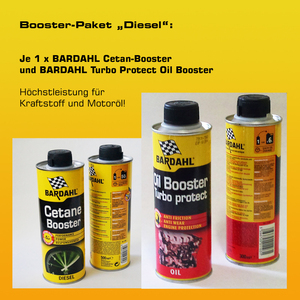 Booster-Paket Diesel: 1 x BARDAHL Cetan-Booster + 1 x BARDAHL Turbo Protect Oil Booster