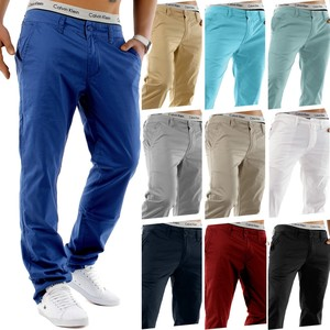 Herren Chino Hose Stretch Jeans Slim Fit Designer Basic Stoffhose