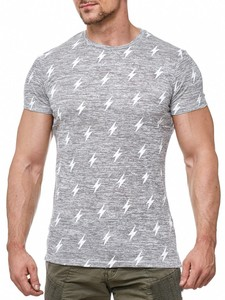 Herren T-Shirt Muster Long Tee Kurzarm Shirt Flash Print