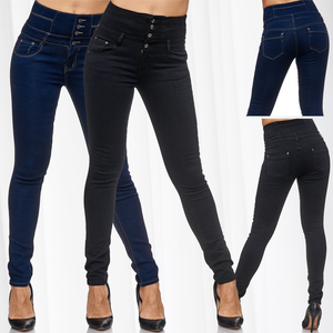 Damen Jeans High Waist Skinny Hose Stretch Shaping Effekt D2085