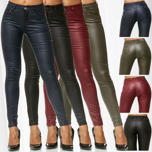 Damen Treggings Hose Leder Optik Kunstleder Hose Skinny Stretch Röhre D2476