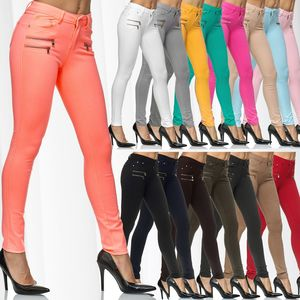 Damen Treggings Skinny Hose Jeggings Röhre Stretch Leggings