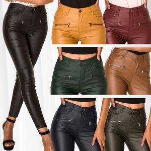 Damen Hose Leder Optik Skinny Coated High Waist Biker Kunstleder