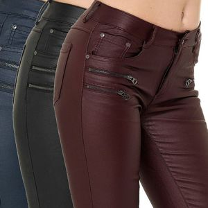 Damen Hose Leder Optik Coated Skinny High Waist Kunstleder Biker