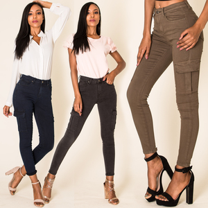 Damen Treggings Cargo Stretch Skinny Jeans Hose Denim Röhrenjeans