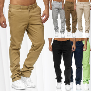 Herren Chino Hose Jeans Stoff Hose Baumwolle Regular Fit Basic Design