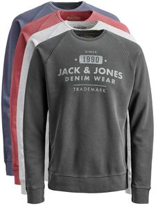 JACK & JONES SWEATSHIRT WASHED CREW NECK SWEAT S M L XL XXL