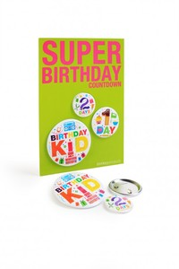 Donkey Products Button-Set - Super Birthday Buttons, 3-teilig