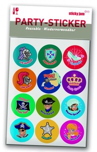 Glas-Marker - Party-Sticker Kids Party, 12-teilig