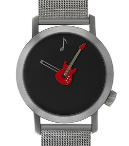Akteo Armbanduhr - Rote Gitarre silber - 42 mm
