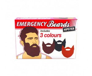 Notfall Bart-Set Emergency Beards Hipster, 3-teilig