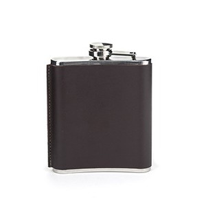 Kikkerland Flachmann Leather Flask mit Leder-Ummantelung