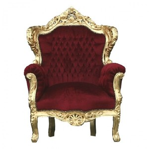 Casa Padrino Barock Thron Sessel King Bordeaux / Gold
