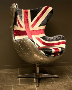 Casa Padrino Art Deco Egg Chair Drehstuhl Sessel Aluminium / Union Jack - Club Sessel - Lounge Sessel -  Vintage Airplane Möbel