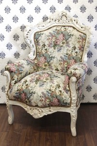 Casa Padrino Barock Sessel King Blumenmuster / Creme 85 x 85 x H. 120 cm - Limited Edition