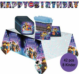Party-Set Happy Birthday Kindergeburtstag Lego Movie 2, 42-tlg.