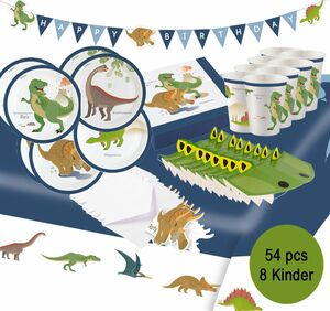 Party-Set Happy Birthday Kindergeburtstag Dinosaurier T-Rex, 54-tlg.