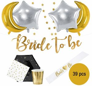 Party-Set Junggesellinnenabschied Bride to be schwarz gold,  39-tlg.