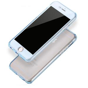 Crystal Case Hülle für Apple iPhone 6 Plus / 6s Plus Blau Rahmen Full Body