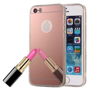 Apple iPhone 5 / 5s Handy-Hülle Spiegel Mirror Soft-Case Schutz-Cover Rose Gold