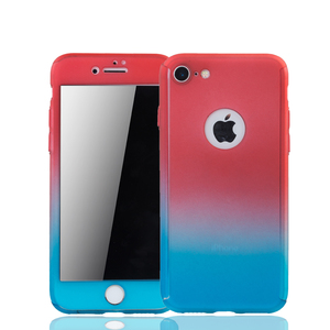 Apple iPhone 8 Handy-Hülle Schutz-Case Full-Cover Panzer Schutz Glas Rot / Blau