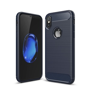 Apple iPhone X Cover TPU Case Silikon Schutz-Hülle Handy Bumper Carbon Optik Blau
