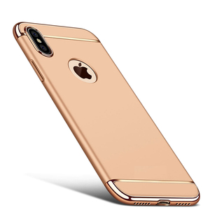 Handy Hülle Schutz Case für Apple iPhone XS Bumper 3 in 1 Cover Chrom Etui Gold