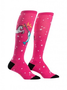 Sock it to me - Unicorn vs.Narwhal - lustige Damen Socken lang, happy socks mit Einhorn und Wal Gr.39-42 One Size