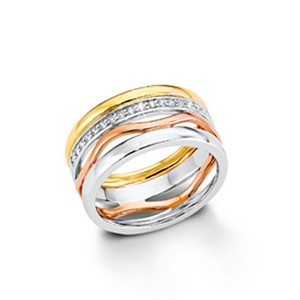 s.Oliver Jewel Damen Ring Silber Zirkonia Tricolor SO1184