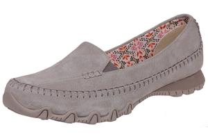 Skechers Bikers Pedestrian Damen Sommerschuhe Slip On Slipper Ballerina Leder