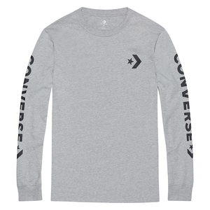 Converse Star Chevron T-Shirt Wordmark LS Long Sleeve Herren Grau