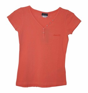 Reebok V Neck Button Damen T-Shirt lachs shirt