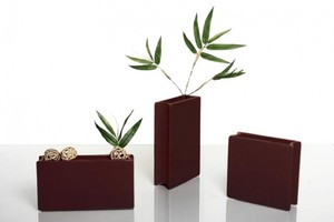 Design-Vase BOOK, Keramik, mocca, matt