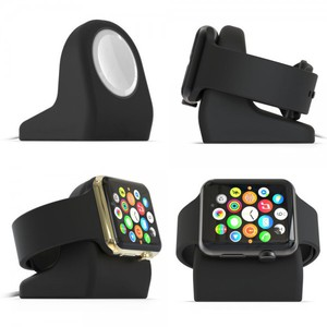 Nightstand Docking Station Silikon für Apple Watch 38 mm 42 mm Schwarz