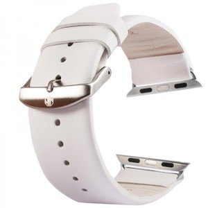 Lederarmband für Apple Watch iWatch 38 mm inc. Adapter Weis