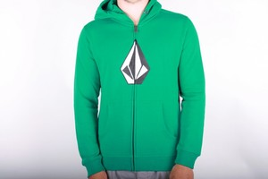 Volcom The Stone Basic Fleece Zip Hoodie Green Kids