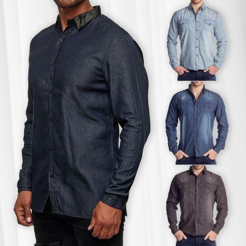 Herren Hemd Jeans Look Langarm Shirt Meliert Bestickte Übergangs Jacke Gemustert