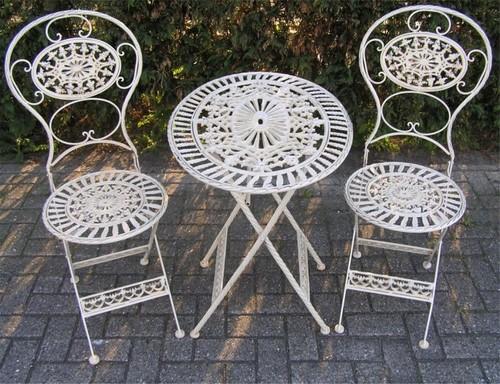 Jugendstil Gartenmobel Set Altweiss 1 Tisch 2 Stuhle Eisen Garten Mobel Barock Gartenmobel Direkt Bestellen