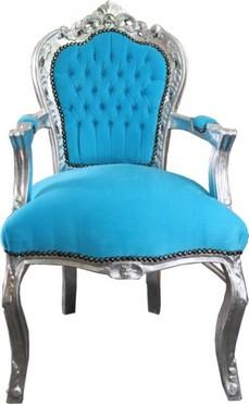 Barock Esszimmer Stuhl Turkis Silber Mit Armlehnen