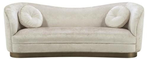 Casa Padrino Luxus Wohnzimmer Sofa Weiß-Beige / Bronze 230 x 85 x H. 82 cm  - Gebogene Luxus Couch mit 2 dekorativen Kissen