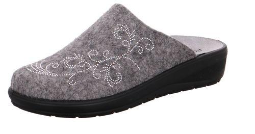 Rohde Catania Damen Pantoffeln Pantolette Hausschuhe 6160 Grau Soft Filz Straß