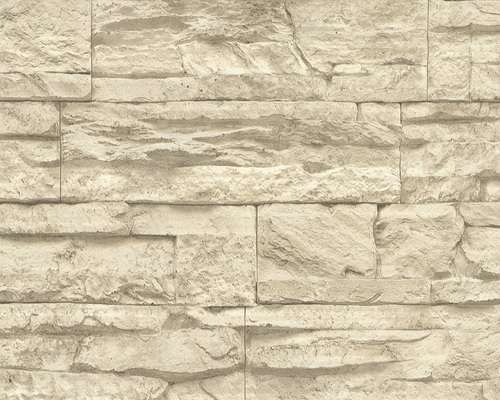 AS Creation 707130 Tapete Woodn Stone Beige, Creme