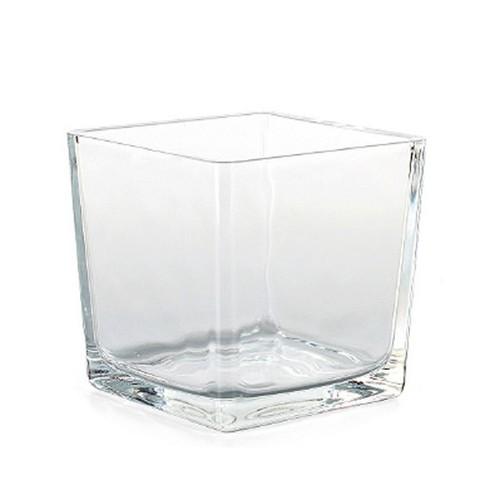 Vierkantgefäß Glas eckig Pflanzgefäß Pflanztopf Übertopf 10cm klar