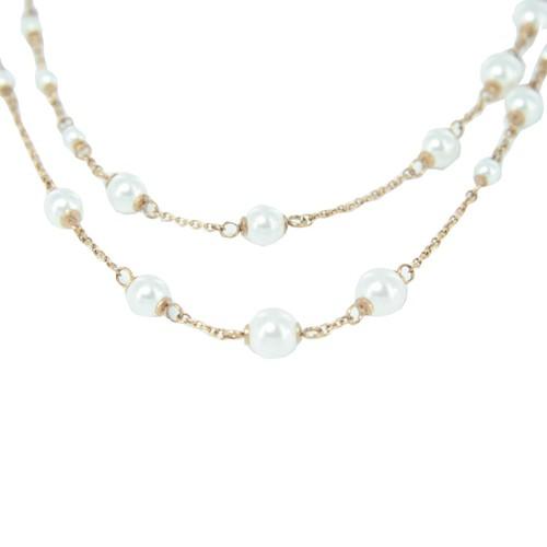 Skagen Damen Kette Edelstahl Perlen Double Wrap rose gold JNSR035