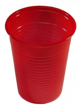 300 Plastikbecher Einwegbecher Trinkbecher rot  0,2 l (0,07€/1Stk)