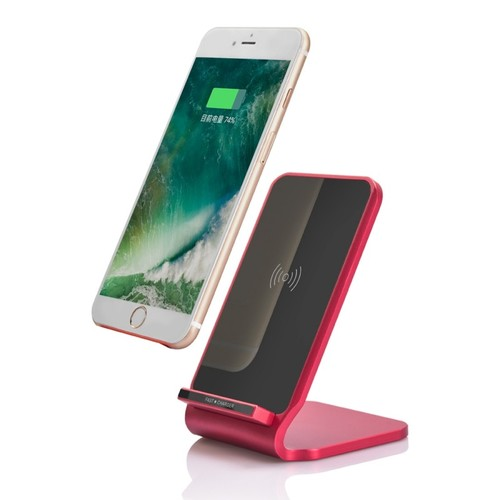 Nightstand Induktive Schnellladestation Ladestation Qi NFC Wireless Charger Dock 10W Rot